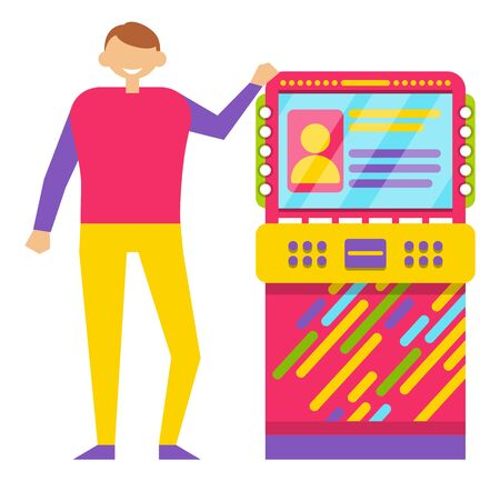 Guy playing retro arcade game machine isolated on white. Happy smiling young man wearing colorful clothes spending free time in gaming room vector, gaming computer machinery