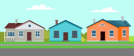 여러 건물 벡터, 거주지 및 녹지와 잔디가 있는 부동산, 긴 도로 평면 스타일로 전통적인 교외 스타일로 지어진 주택이 있는 조용한 마을 벡터 (일러스트)