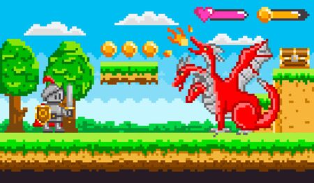 Pixel game knight in armor with sword and shield fighting with red fire belching three headed dragon for chest of money. Platformer video-game. Retro computer arcades. 8 bit pixelated art app gemes Illustration
