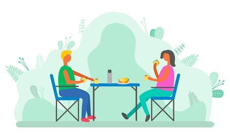 Couple spending time outdoors vector, man and woman eating in park. People camping having lunch sitting by table, characters relaxing on nature flat style. Dating in park