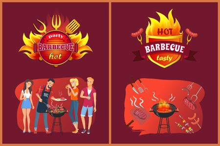 Hot bbq party with friends. People near grill, sausage and steak on fork, lattice or skewers. Fried salmon, fat hamburger vector illustrations. Standard-Bild - 128234955