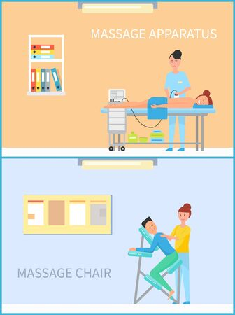 Massage on apparatus and special machine chair vector posters in circle. Masseuse woman making relaxing procedure using electronic device in spa cabinet Ilustração