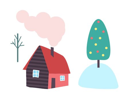 Country house with chimney and smoke from pipe vector isolated. Cottage with window and door, rural home in countryside, tree in snow, Christmas concept