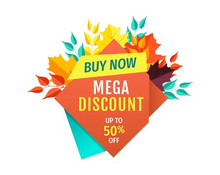 Mega discount, half price off emblem with autumn leaves. Seasonal sale only for fall, special offer to buy now vector illustration isolated.