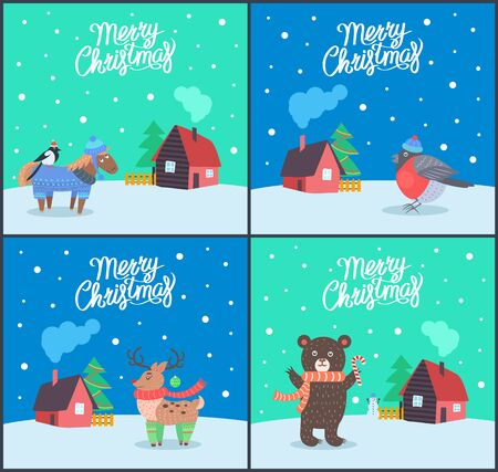 Merry Christmas animals posters with greeting set vector. Bullfinch standing on horse wearing sweater. bear with scarf, reindeer with horns and bird Ilustrace