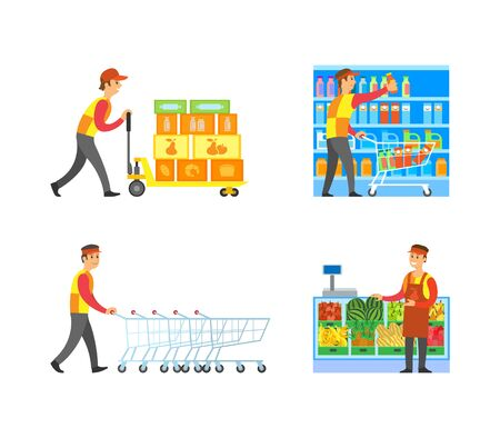 Supermarket stores male workers at work vector. Shopping trolley carts with handle arrangement fruits department with melon and apples. Milk and juice  イラスト・ベクター素材