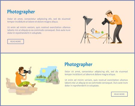 Photographers of landscape and still life online banners set. Fruits near teapot, mountain or rock. Man taking photo with camera vector illustrations. Иллюстрация