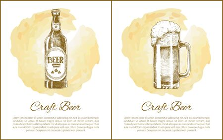 Craft beer objects set hand drawn vector sketches. Full tumbler with flowing foam and closed bottle isolated on beige stain vintage icon for bar menu Çizim
