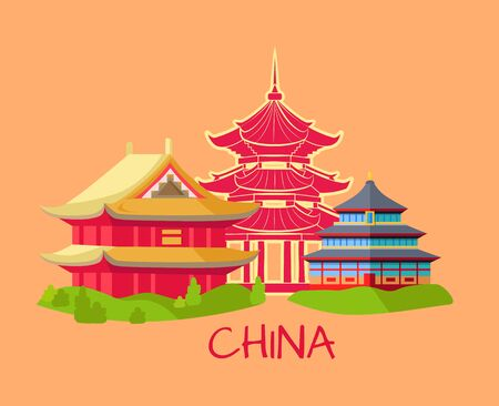 China Chinese architecture poster set vector. Architectural style of Asian part of world. Building and constructions of different color sightseeing