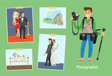 Photographer with professional camera and photos. Celebrities couple, wedding photography, still life, and mountain landscape vector illustration. Иллюстрация