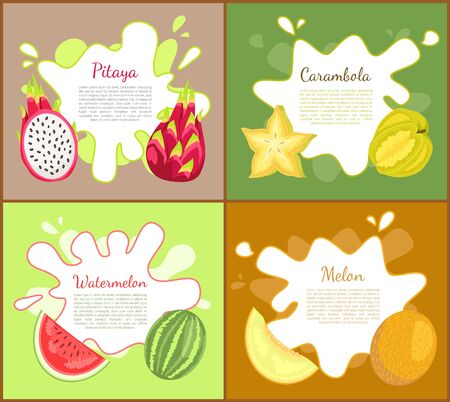 Pitaya and carambola posters set with text sample and info about tropical fruits. Juicy watermelon slice and sweet melon food. Nutritious meal vector