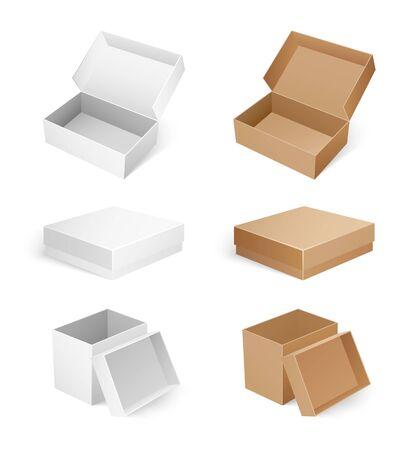 Cajas vacías cosméticas, médicas o de productos aisladas. Maquetas de envases rectangulares, cuadrados y largos para fines de entrega. Conjunto de paquetes de cartón, iconos vectoriales Ilustración de vector