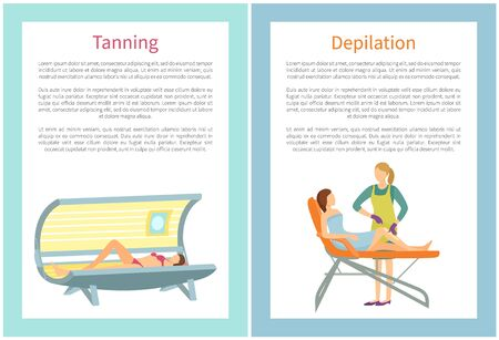 Depilation procedure in spa salon. Indoor tanning using device that emits ultraviolet radiation to produce a cosmetic tan. Hair removal epilation vector 向量圖像