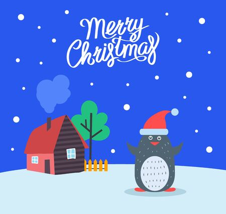 Merry Christmas greeting poster with penguin and text sample vector, House and tree with wooden fence. Animal wearing Santa Claus hat, snowing weather