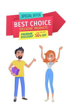 Special offer and best choice premium discount allowing to save up to half price. Man and woman shoppers happy of sales. Male holding gift vector 向量圖像