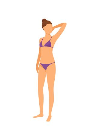 Spa salon, woman in bra and bikini, isolated lady vector. Female wearing bathing suit and posing, ready for procedures. Model gaining tan tanning Çizim