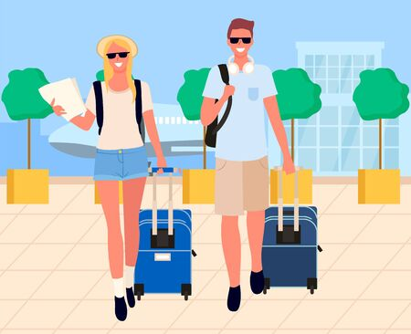 Man and woman travelers going near airport building and airplane. Smiling couple holding baggage, people arrival, tourist with luggage near terminal vector  イラスト・ベクター素材