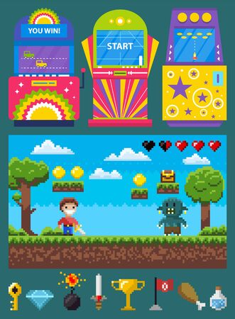 Pixel game, battle of knight and geek, game machine. Power equipment key, diamond and bomb, steel and cup, flag and meat, bulb icons, gable platform vector Stock Illustratie