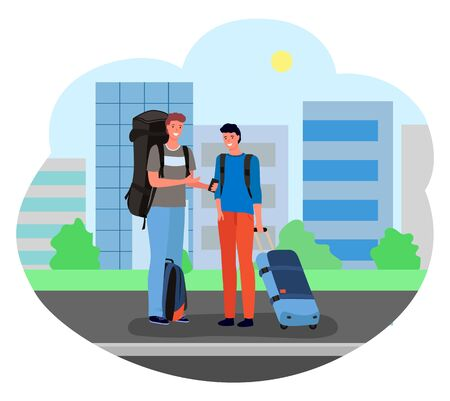 Two male travelers with suitcases and backpacks standing and waiting for taxi to get to airport. Passengers with luggage and cityscape on background