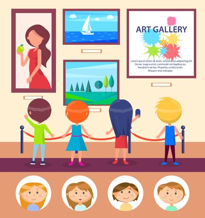 Art gallery, school children at excursion watching picture exhibition vector. Landscape and seascape or portrait, girls and boys, education and culture Illustration