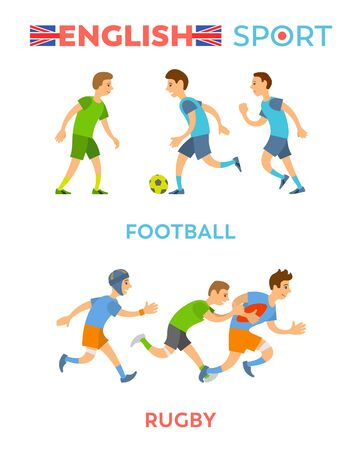 English sport vector, boys wearing special suits and costumes running and leading active lifestyle, football and rugby players, healthy youth flat style