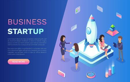 Business startup vector, team of skillful workers working with rocket standing on pedestal, infocharts and team using laptops and computers. Website or webpage template, landing page flat style Vectores