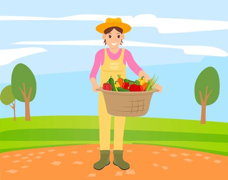Harvester holding basket with vegetables, person with bell pepper, cucumber and carrot, onion and tomato. Smiling person with vegetarian food vector Ilustrace