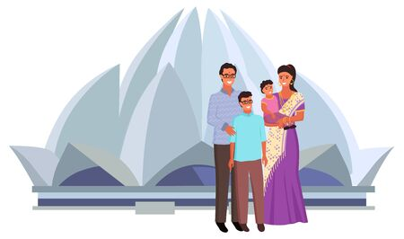 Indian family standing near Lotus Temple, smiling mother wearing sari holding daughter, father with son. Hinduism building, India landmark, church vector