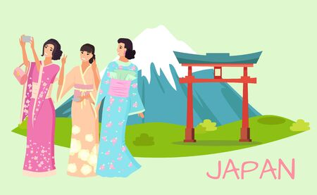 Women in traditional Japanese clothing, taking photos using mobile phone in front of beautiful Japan landscape with mountain and portal vector Illustration