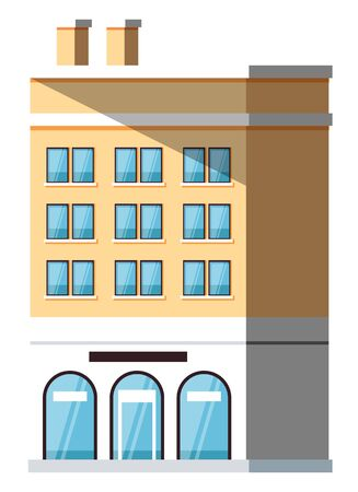 Multi-storey building with windows and entrance, shadow on house. City or street construction with yellow wall, exterior of skyscraper vector