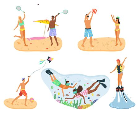 Coastal summer vacation vector, people relaxing by beach and sea water. Playing volleyball and tennis, paper kite and snorkeling. Divers underwater exploring ocean, summertime activity