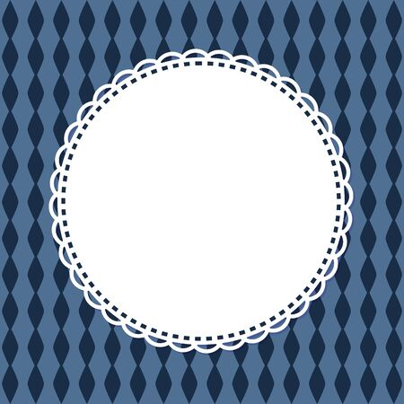 Invitation card template, retro round frame in shape of napkin isolated on blue background with rhombus. Vector greeting card mockup, circled border Illustration