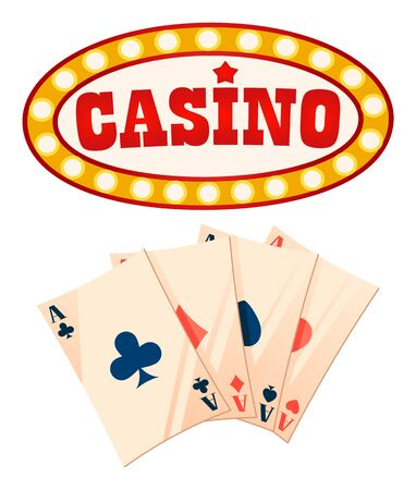Casino gambling games vector, isolated set of icons. Playing cards aces on papers, banner with golden glowing frame. Retro framing of inscription