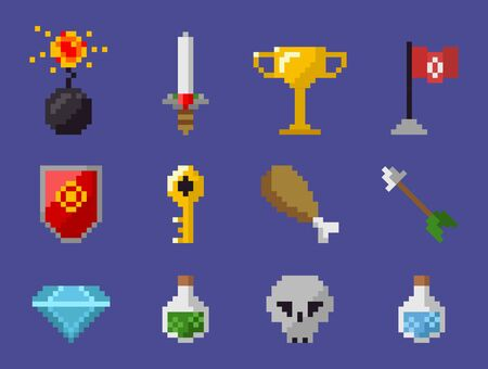 Skull and potion in bottle vector, isolated set of icons from pixel game, bomb and chicken, sword and trophy, shield and key, brilliant and flag arrow, pixelated objects for video-game