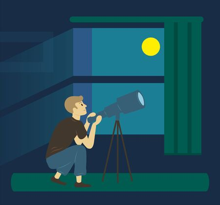 Vista lateral del hombre mirando telescopio de pensamiento, vista oscura desde la ventana. Pasatiempo de hombre investigando el cielo, visión de la luna por la noche, persona sentada en casa y mirar estrellas