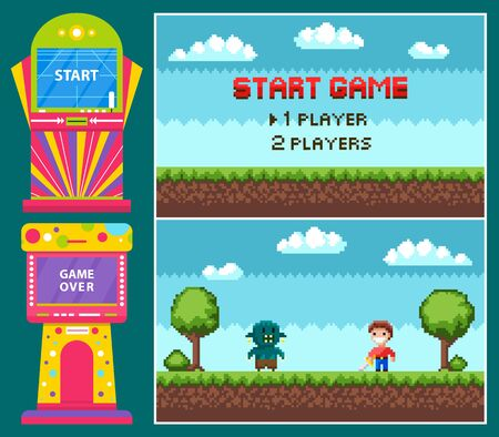 Pixel game, battle of knight with steel and geek. Gamble colorful machine, start and over icons, heroes duel, pixelated interface, green landscape vector