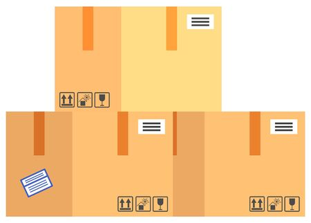 Packing product icon. Packing yellow boxes, package service, transportation parcel, deliver container, box delivery, receive pack, send and logistic isolated vector illustration