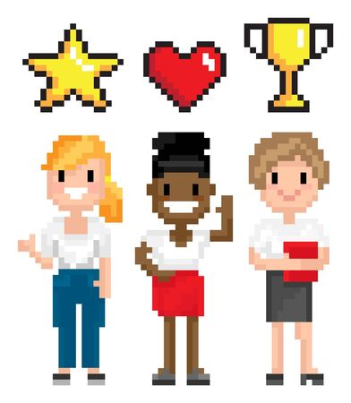 Pixel character, women full length view with power symbols heart, star and award, choosing superhero, pixelated interface, element of game vector