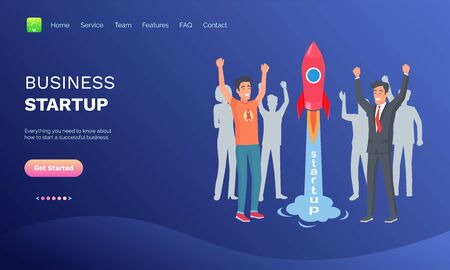 Business startup vector, people happy to launch rocket spaceship, successful team working on common project, businessman with ideas info set. Website or webpage template, landing page flat style