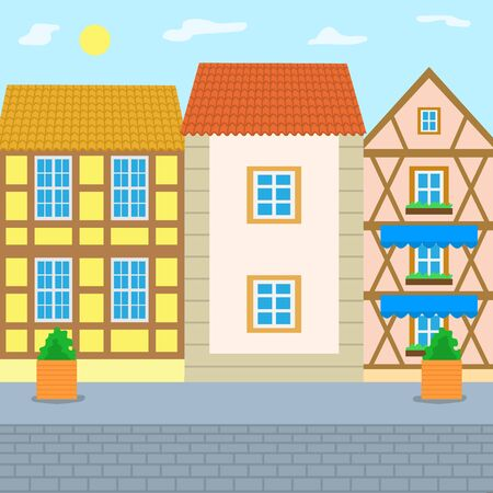 Road paved with bricks vector, old city, cityscape with buildings. Town with estates and constructions for people to live, street with plants in pots Ilustração