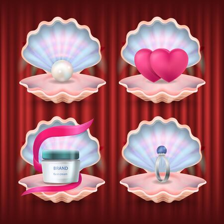 Lotion for skincare and products in shells vector, isolated set of seashells. Pearl and container with emblem, engagement ring and hearts red curtain