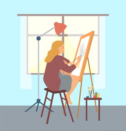 Person drawing images on canvas vector, hobby of woman on pastime human with brush. Paintbrush in hand of skilled artist, lady at home leisure interest