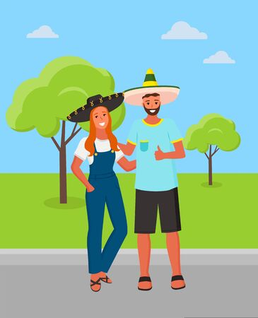 Man and woman in park vector, couple wearing traditional clothes of Mexico. Mexican people sombrero hats on head of pair, cultural heritage retro style Banque d'images - 128392850