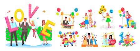 Set of photo zones, frames and decorations for different events like wedding or birthday party. Smiling people posing for photos with balloons vector. Birthday, wedding or festival photo  イラスト・ベクター素材