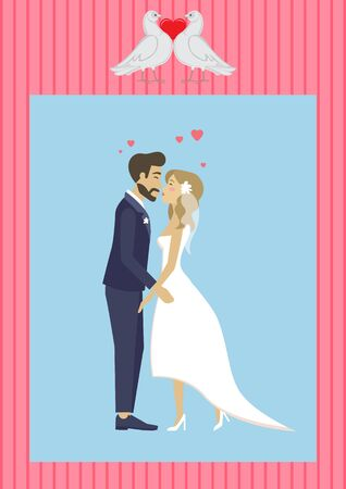 Wedding ceremony vector, man and woman kissing each other, bride and groom in love on special day, male and female cuddling, lady wearing bridal dress