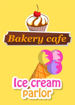 Sticker  of bakery cafe and ice-cream parlor with cupcake and frozen cream on yellow. Cafe or restaurant delicious symbol, dessert icon vector Vectores