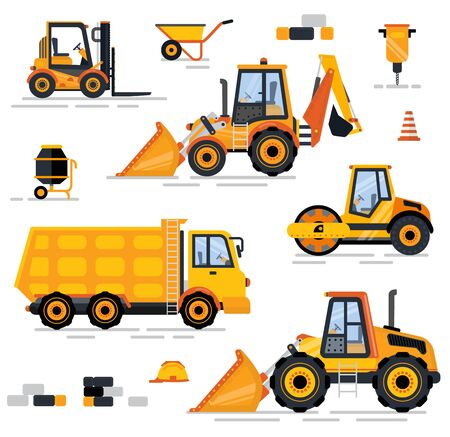 Construction equipment set, heavy machine, forklift and barrow, brick and drill concrete mixer, tractor and lorry. Professional engineering objects on white. Special machines for the construction work