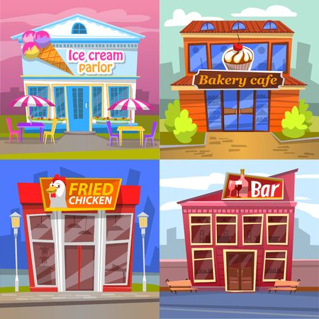 Urban building set ice cream parlor, bakery cafe, fried chicken market or restaurant and bar. Exterior of snack place with terrace, pub architecture vector, buildings for game Ilustracja