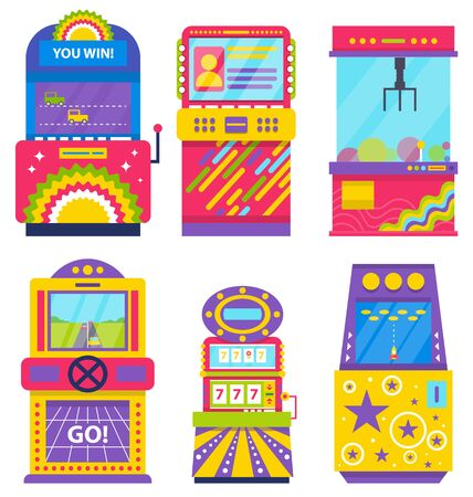 Set of different colorful retro arcade machines isolated on white. Game application on screen. Gaming room, vintage entertainment, vector. Old playing device. Machine for gambling and winning money