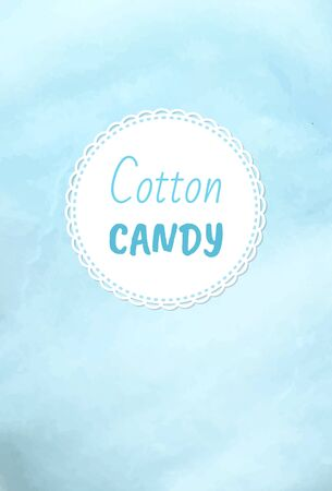 Cotton candy holiday treats , fluffy candyfloss of blue color. Vector blueberry taste confectionery made of sugar, summer trip for kids, airy sweetness